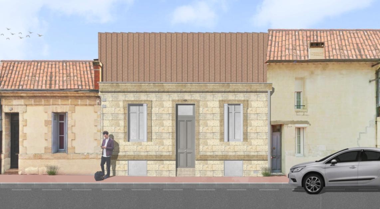 Façade échoppe double pierre Bordeaux 4 chambres avec jardin