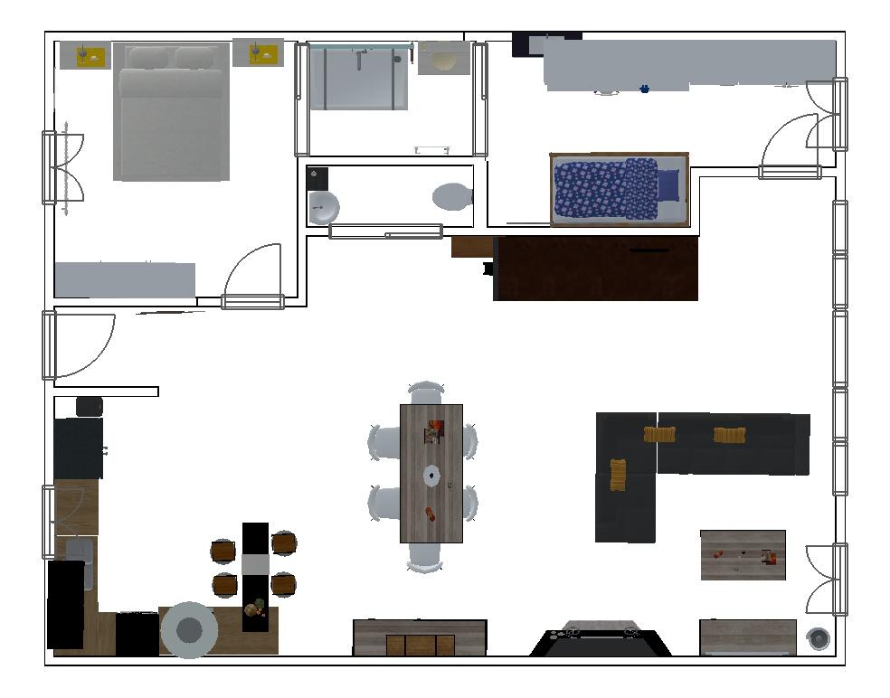 Plan RDC, échoppe (maison) 4 chambres avec jardin