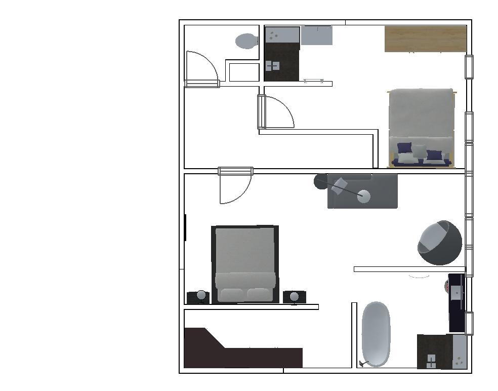 Plan étage échoppe (maison) 4 chambres avec jardin
